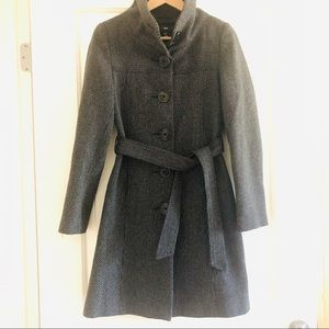 H&M Gray Long Belted Jacket with high collar